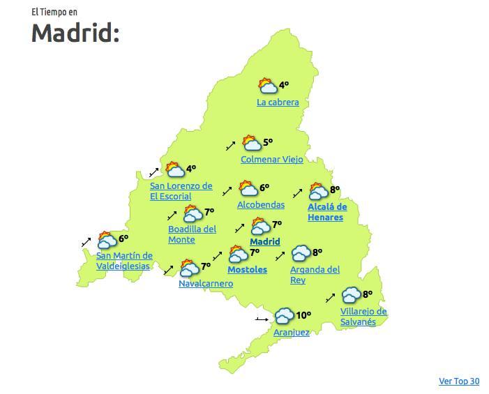 El tiempo en Madrid para el 31 de diciembre a las 18:00 horas